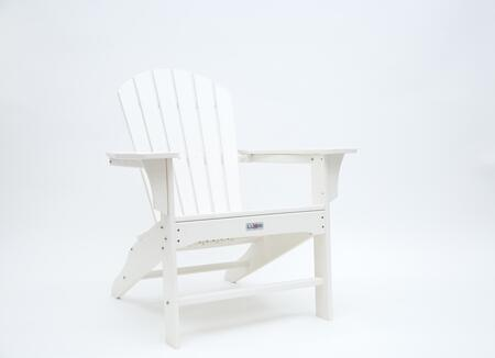 Hampton LUX-1518-WHT Outdoor Patio Adirondack Chair with 250 lbs. Weight Capacity  Wide Seating and Recycled High Density Polyethylene Construction in