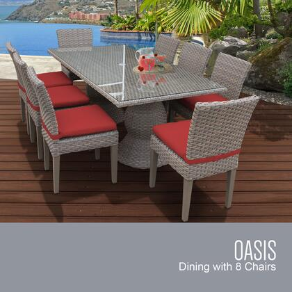 Oasis-rectangle-kit-8c-terracotta Oasis Rectangular Outdoor Patio Dining Table With 8 Armless Chairs With 2 Covers: Grey And