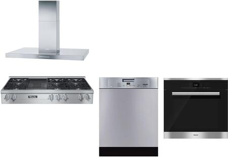 4-piece Stainless Steel Kitchen Package With Kmr1355g 48 Natural Gas Rangetop (6 Burners  Grill)  Da424v 48 Island Mount Hood  H6780bp 30 Single Wall Oven