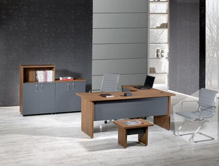 Zeus Collection ZEUS-63MA-S 4 PC Desk Set with L-Shaped Desk  Coffee Table  Hutch  File Pedestal  Wire Management and Laminated Wood Surfaces in Milano