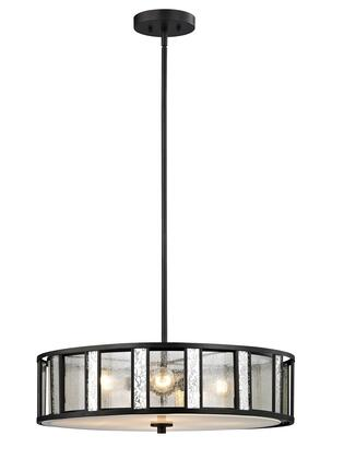 Juturna Z24-57P-C 24 inch  4 Light Pendant Craftsman  Tiffanyhave Iron Frame with Bronze finish in Silver Mercury Outside; Clear Seedy