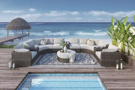 Spring Dew Collection P453-814-846-851(2)-853(3)-877 10-Piece Outdoor Patio Sectional Sofa Set with 2 Corner Chairs  2 Armless Chairs  1 Ottoman  2 Curved