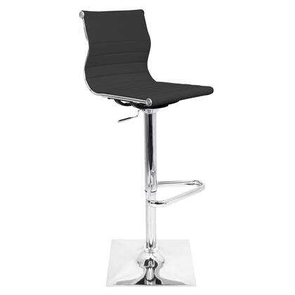 BS-TW-MASTER BK Master Height Adjustable Contemporary Barstool with Swivel in