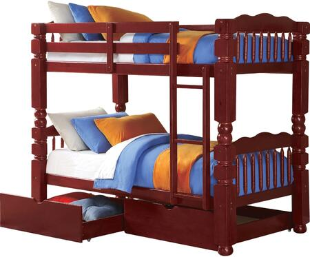 Benji Collection 02570TRN Twin Over Twin Size Bunk Bed with 2 Storage Drawers  Right Facing Front Ladder  Slat System Included and Engineered Wood Construction