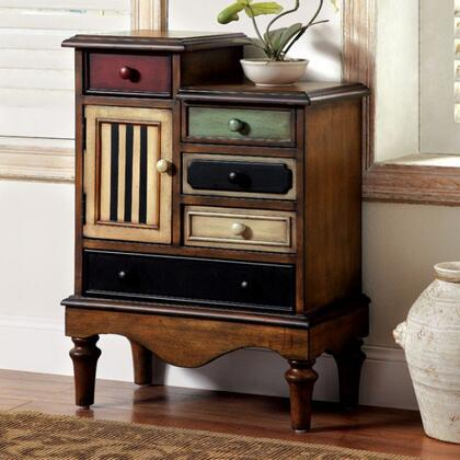 Neche CM-AC145 Accent Chest with Vintage Style  Cabinet with 5-Drawers  Turned Legs  Multi-colored Drawer Panels in Antique