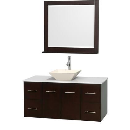 WCVW00948SESWSD2BM36 48 in. Single Bathroom Vanity in Espresso  White Man-Made Stone Countertop  Pyra Bone Porcelain Sink  and 36 in.