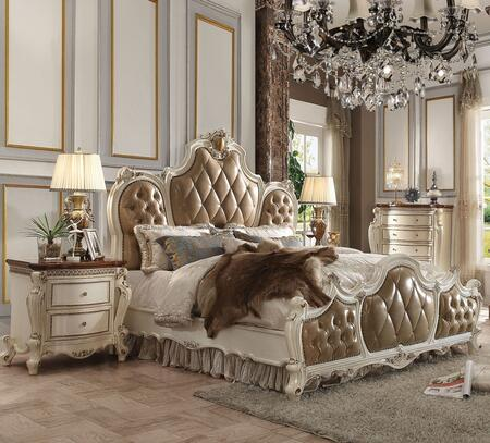 Picardy Collection 26894CK4SET 4 PC Bedroom Set with California King Size Bed  Chest and 2 Nightstands in Antique Pearl