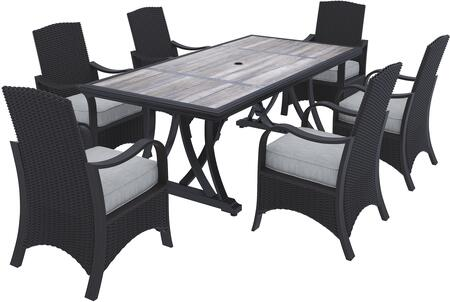 Marsh Creek Collection P775-625-6CH 7-Piece Patio Set with Rectangular Patio Dining Table and 6 Chairs in