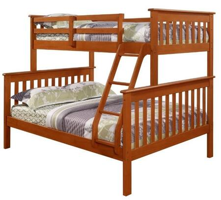 122-3CP Bunk Bed Twin over Full In Mission Style with Built in Ladder  Slat Headboard and Footboard in
