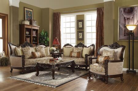 Devayne Collection 50685SET 5 PC Living Room Set with Sofa  Loveseat  Chair  Coffee Table and End Table in Dark Walnut