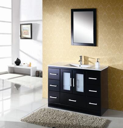 MUX-025 47.2 inch  Bathroom Vanity  White Integral Ceramic Rectangular Basin and Countertop  Matching Mirror  2 Door Cabinet with 7 Drawers  in Oak with Espresso