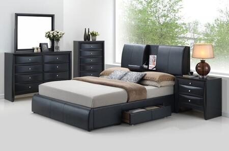 Kofi 21270q5pc Bedroom Set With Queen Size Bed + Dresser + Mirror + Chest + Nightstand In Black