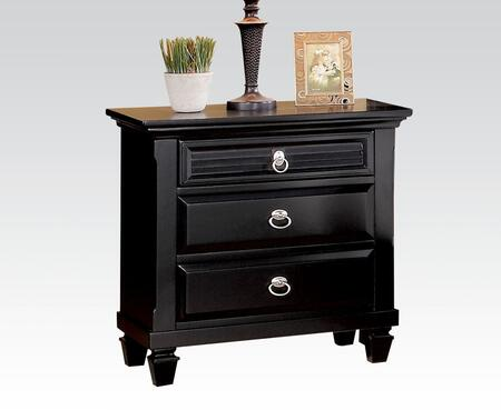 Merivale Collection 22443 28 inch  Nightstand with 3 Drawers  Metal Hardware  Velvet Lined Top Drawer  Poplar and Pine Wood Construction in Black