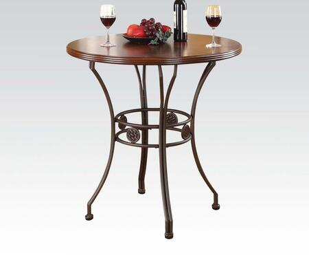 Tavio Collection 96069 36 inch  Bar Table with Round Wooden Top  Birch Veneer Materials and Metal Curved Legs in Walnut and Dark Bronze