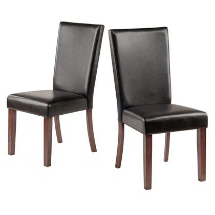 Johnson Collection 94237 Set of 2 Side Chairs with Faux Leather Upholstery  Tall Backs and Tapered Legs in Espresso
