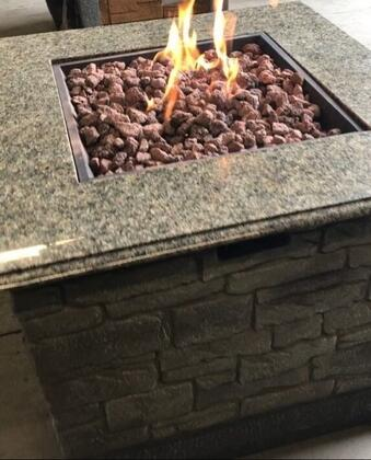 DM-GFP-009A-LR 35 inch  Stone Table Gas Fire Pit with 40 000 BTU Output  Battery Operated System  Marble Table Top and Magnesium Oxide Material in Mantel Composite