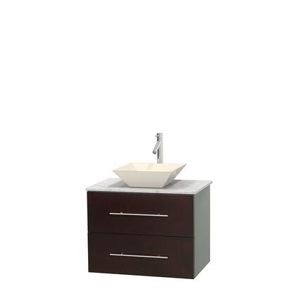 Wcvw00930sescmd2bmxx 30 In. Single Bathroom Vanity In Espresso  White Carrera Marble Countertop  Pyra Bone Porcelain Sink  And No