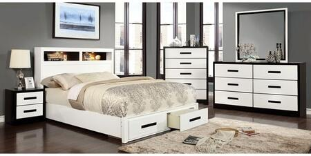 Rutger Collection CM7298FBDMCN 5-Piece Bedroom Set with Full Storage Bed  Dresser  Mirror  Chest and Nightstand in White