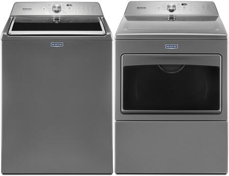 Metallic Slate Front Load Laundry Pair with MVWB765FC 28 inch  Washer 4.7 cu. ft. Capacity and MGDB765FC 27 inch  Gas