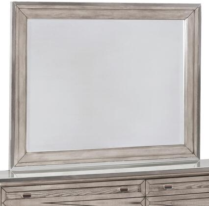Johnathan Collection 205194 44 inch  x 35 inch  Mirror with White Tempered Glass Top  Ash Veneer and Solid Poplar Wood Construction in Shell