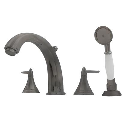 514413TFP Blairhaus Jackson deck mount tub filler set with smooth lined arcing spout  cone-shaped lever handles  beveled escutcheons  hand held shower with