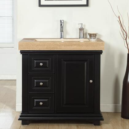 V0285TR36R 36 inch  Single Sink Right Cabinet with 3 Drawers  1 Door  Travertine Top and Ramp Sink