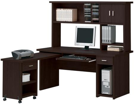 Linda 04692SET 3 PC Home Office Set with Computer Desk + Computer Hutch + Side Desk in Espresso