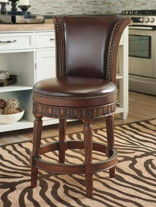 North Shore D553-224 39 inch  Tall Swivel Stool with Faux Leather Upholstery  Nail-Head Accent and Detailed Stretcher in Dark