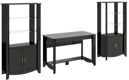 Aero Collection MY16928-03-292 3-Piece Desk Set with Writing Desk and Two Tall Storage Cabinet with Shelves in Classic Black