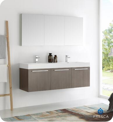 Vistago Collection Fvn8093go-d 60 Wall Hung Double Sink Modern Bathroom Vanity With Medicine Cabinet  3 Soft Closing Doors And Integrated Acrylic Countertop