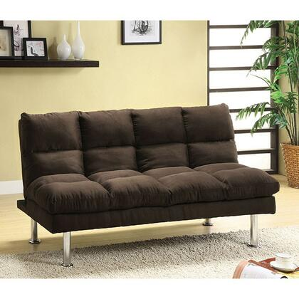 "Saratoga Collection CM2902EX-CA 67"" Futon Sofa with Microfiber Seat  Chrome Legs and Extra Support Legs in"