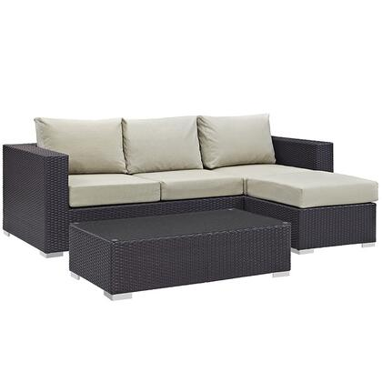 Convene Collection EEI-2178-EXP-BEI-SET 3-Piece Outdoor Patio Sofa Set with Coffee Table  Ottoman and Sofa in