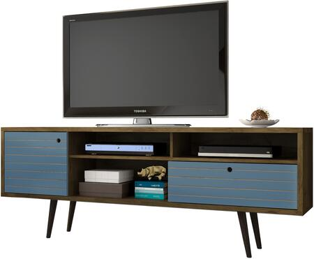 """Liberty Collection 202AMC93 71"""" Mid Century - Modern TV Stand with Solid Wood Legs  4 Shelving Spaces and 1 Drawer in Rustic Brown and Aqua"""