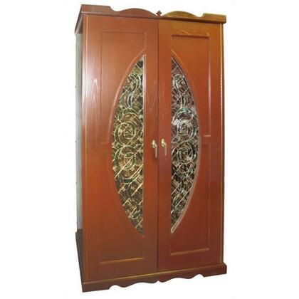 VINO-700MONACOB-LW Monaco Beveled Window Oak Wine Cooler Cabinet  Light