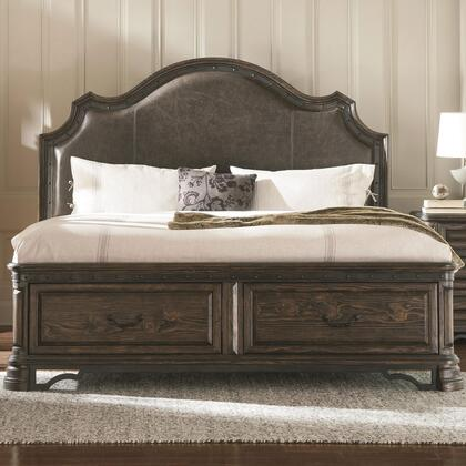 Carlsbad Collection 204040KW California King Size Panel Bed with 2 Storage Drawers  Padded Headboard  Distressed Detailing  Solid Wood and Pine Wood Veneer in