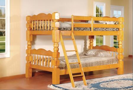 Cory Collection Twin Over Twin Size Bunk Bed with Turned Posts  Ladder Included  Solid Hardwood Construction and Wood Veneer Material in Oak