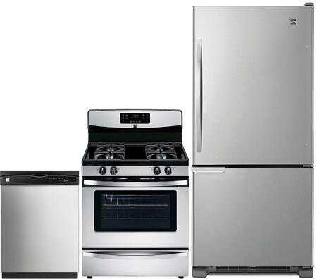 4-Piece Stainless Steel Kitchen Package with 69313 Bottom Freezer Refrigerator  74033 Freestanding Gas Range  80323 Over-the-Range Microwave and