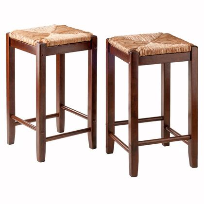 Kaden 94284 Set of Two 24 inch  Barstools with Rush Seats and Up to 220 lbs. Weight Capacity in