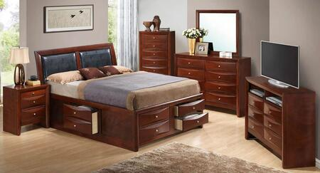 G1550I-TSB4BDMNCMC 6-Piece Bedroom Set with Twin Size Storage Bed + Dresser + Mirror + Single Nightstand + Chest Drawer + Media Chest  in