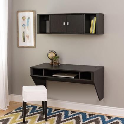 Prepac HRHW-0501-2M Designer Floating Desk and Hutch Set in Washed Black, Brown