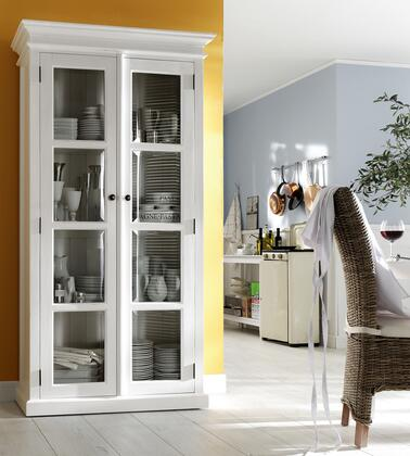 814495012703 HALIFAX Double Glass Door Armoire or Vitrine with 8 Shelves Mahogany in White Distressed