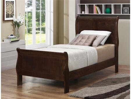 Louis Philippe Collection 202411T Twin Size Sleigh Bed with Curved Footboard and Headboard  Selected Hardwood and Veneers Construction in Cappuccino