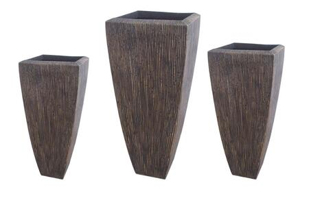 "SGS3105-82 Sandstone Ribbed Long Square Planter 3/Set  Heights: 24""""  32"""""" 441922"