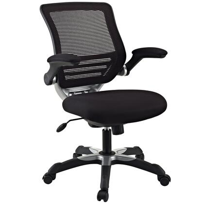 Edge Collection EEI-594-BLK Office Chair with Adjustable Seat Height  Flip-Up Arms  Casters  Tilt Tension Control  Mesh Backrest  Sponge Seat and Fabric Seat
