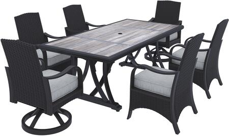 Marsh Creek Collection P775-625-4CH-2SC 7-Piece Patio Set with Rectangular Patio Dining Table  4 Side Chairs and 2 Swivel Chairs in