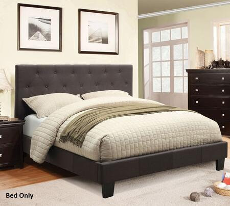 Leeroy Collection CM7200LB-Q-BED Queen Size Platform Bed with Button Tufted Headboard  European Style Slat Kit  Solid Wood Construction and Padded Fabric
