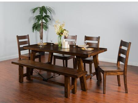 Tuscany Collection 1380VMDT4C 5-Piece Dining Room Set with Extension Dining Table and 4 Chairs in Vintage
