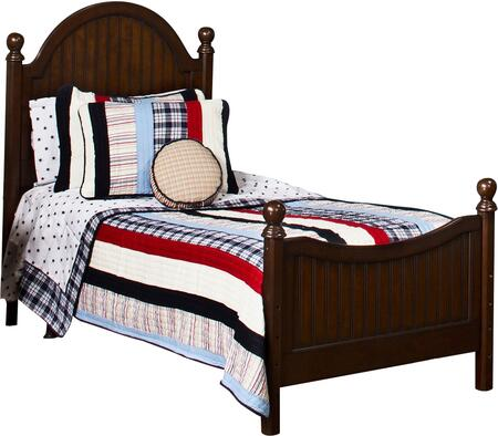 1125BTWR Westfield Twin Size Poster Bed Set with Sculpted Feet  Curved Headboard  Rails Included and Wood Construction in Espresso