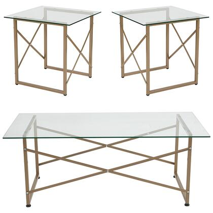 Mar Vista Collection NAN-CEK-31-GG 3 Piece Coffee And End Table Set With Glass Tops And Matte Gold