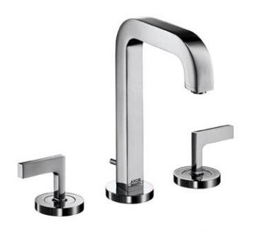39135821 Axor Citterio Bathroom Faucet with Metal Lever Handles and Pop Up Drain: Brushed